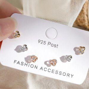 [3 Pairs] 925 Sterling Silver Diamond Earrings K